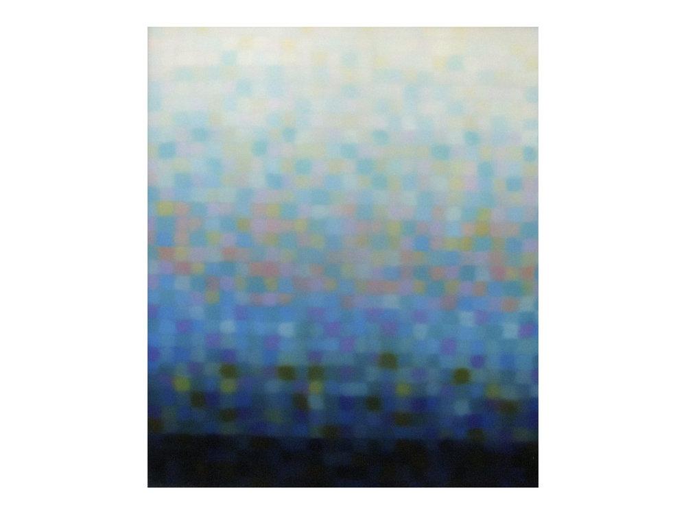 "Matthew Johnson    ""Stratum Aqua II"", 2014  Oil on linen 130 x 110 mm   ARTIST BIO"