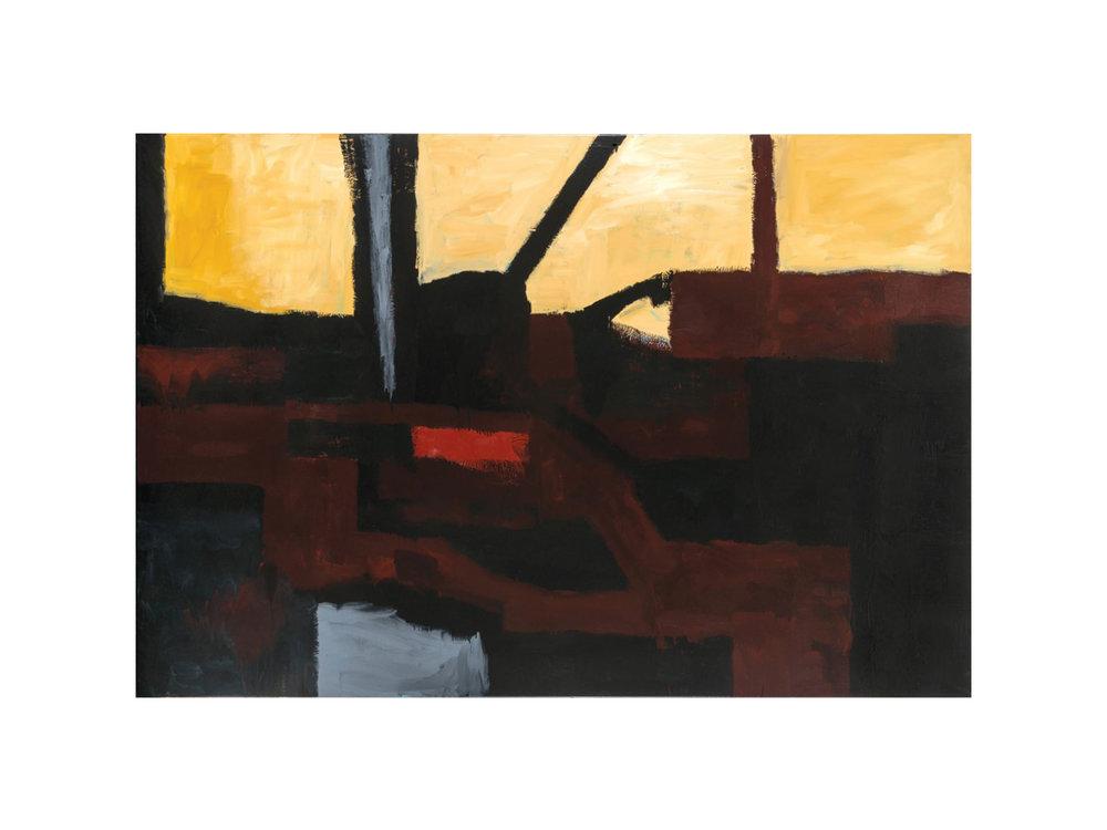 "James Claydon   ""Railway"", 2016, enamel on canvas, 152 x 229 cm  ARTIST BIO"