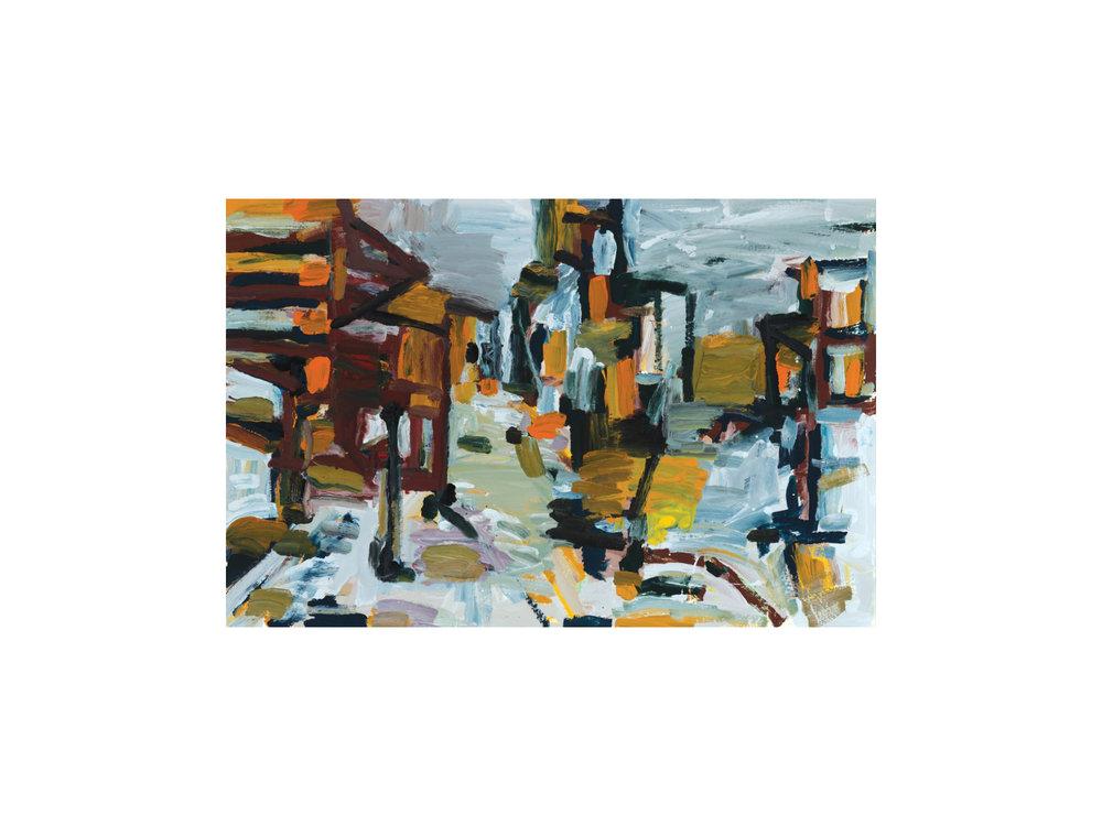 "James Claydon   ""Junction"",2016, enamel on canvas, 61 x 91.5 cm   ARTIST BIO"