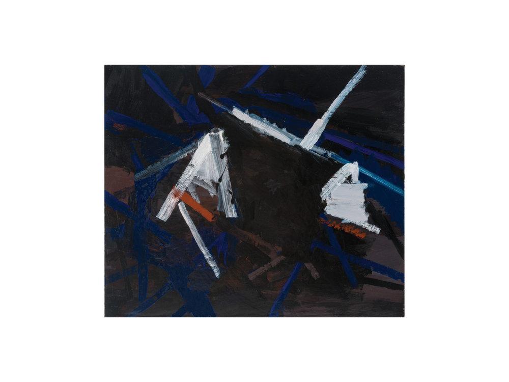 "James Claydon   ""Tunnel"", 2016, enamel on board, 38 x 45 cm   ARTIST BIO"
