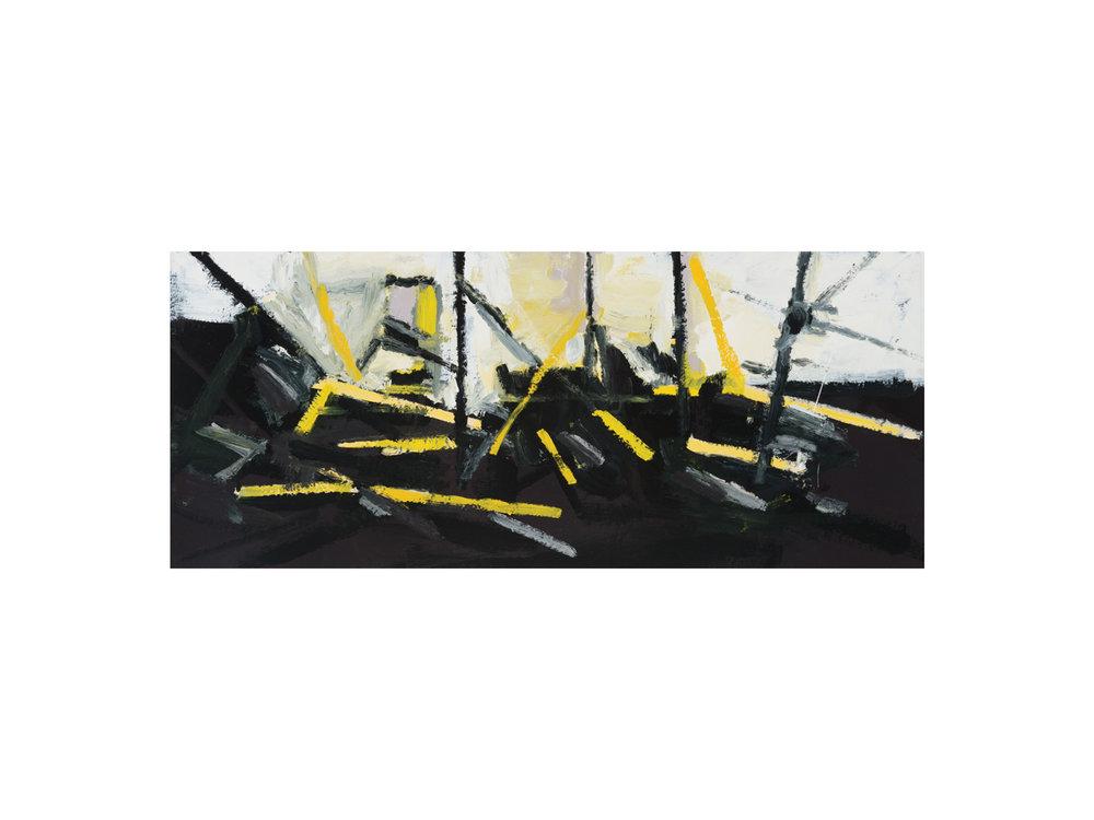 "James Claydon   ""Carpark"", 2016, enamel on board, 320 x 750cm   ARTIST BIO"