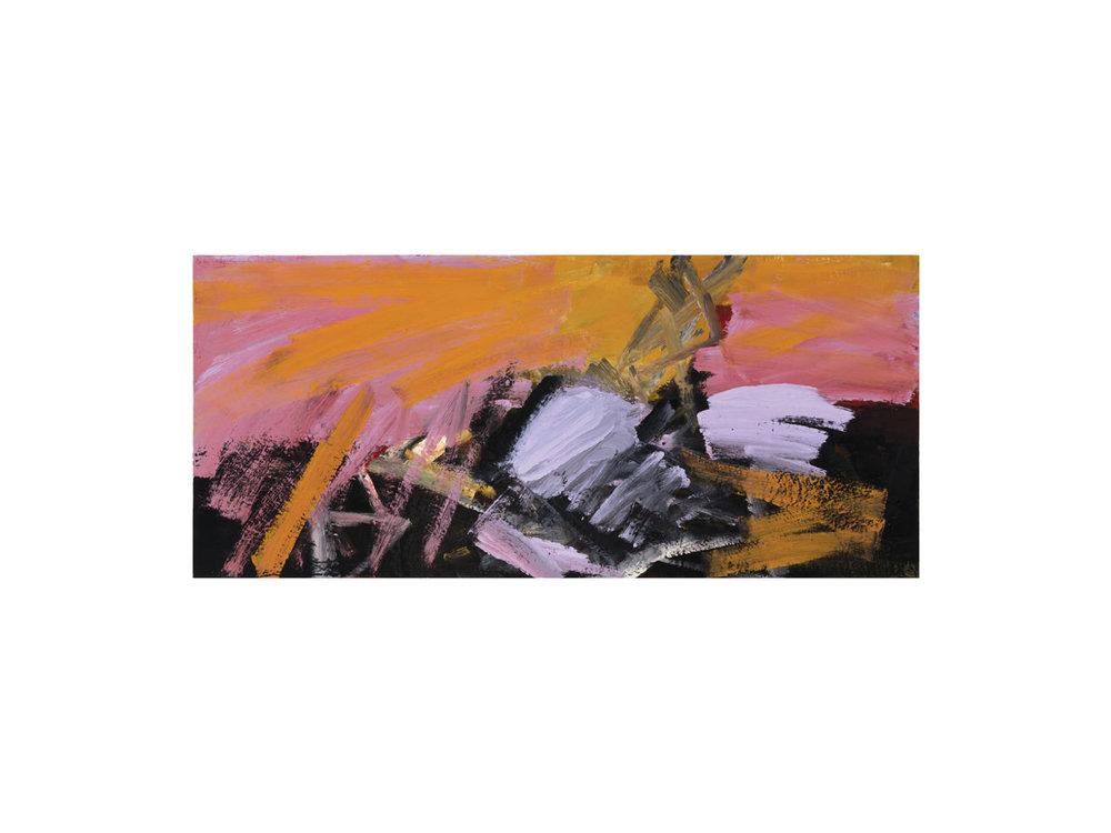 """James Claydon   """"Lookout"""", 2016, enamel on board, 31.5 x 71 cm   ARTIST BIO"""