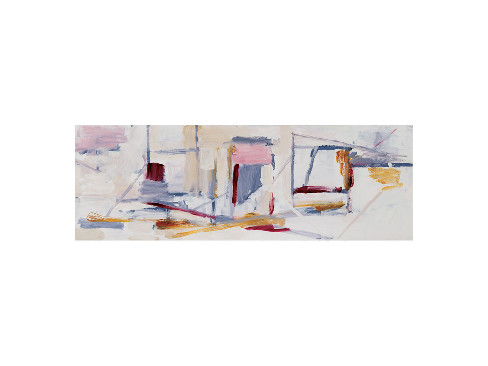 "James Claydon   ""Station"", 2016, enamel on board, 32 x 92 cm   ARTIST BIO"