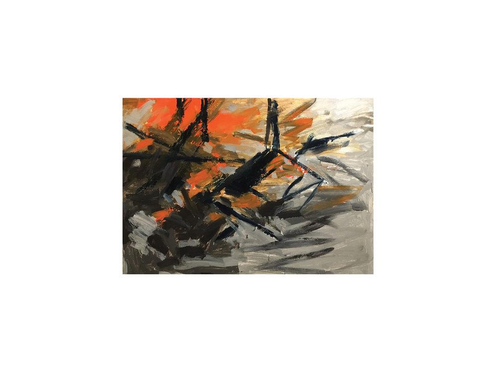 "James Claydon   ""Site"", 2016, enamel on board, 66.5 x 93 cm   ARTIST BIO"