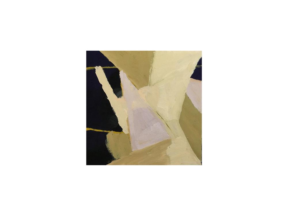 "James Claydon   ""Corner of the room"", 2015, enamel on canvas, 41 x 41cm   ARTIST BIO"