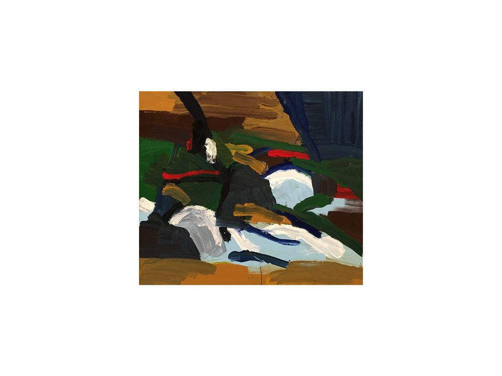 "James Claydon   ""Reclining figures"", 2015, enamel on canvas, 41 x 61cm   ARTIST BIO"