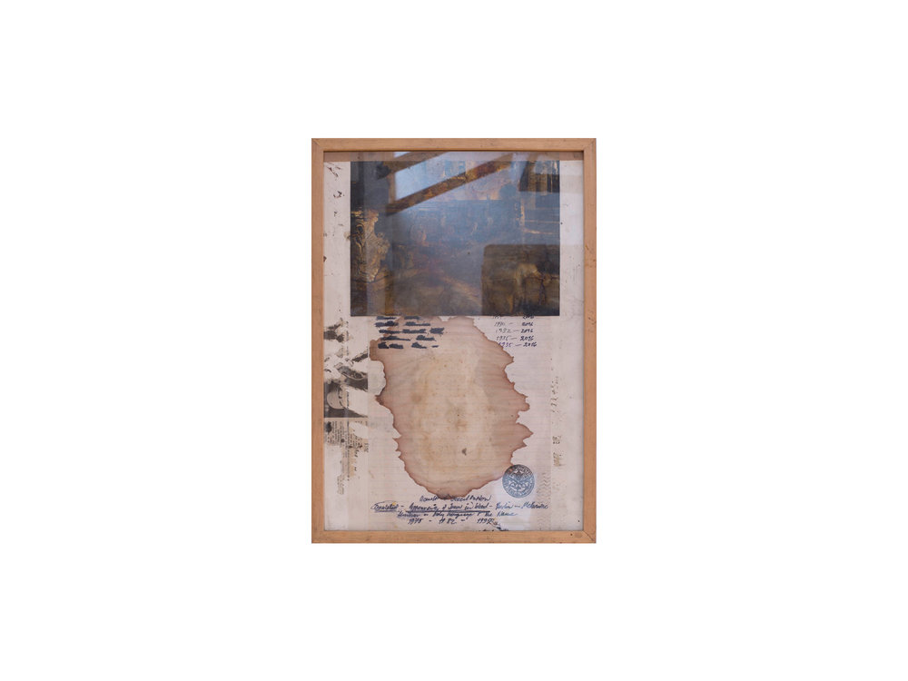 Bernhard Sachs   Appearance of Jesus in a bloodstain in Berlin and Melbourne, 1975 - 2016 , 2016 mixed media on photograph on paper 46 x 33cm   ARTIST BIO