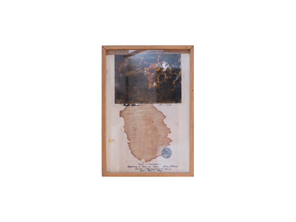 Bernhard Sachs   Appearance of Jesus in a bloodstain in Berlin and Melbourne, 1975 - 2016 , 2016 mixed media on photograph on paper 46 x 33c   ARTIST BIO