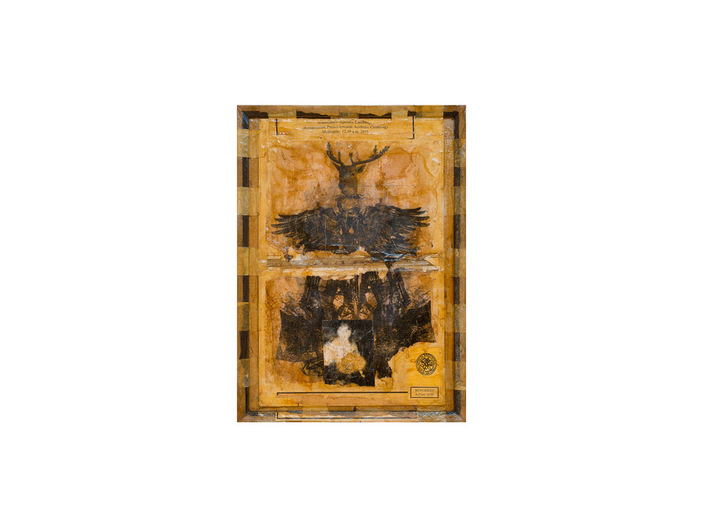 Bernard Sachs   Iconoclastic Agnostic Landscape - The Afflictions , 2016 mixed media on framed board 40 x 55cm   ARTIST BIO