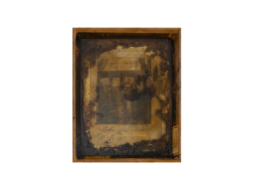 Bernard Sachs   Subiectum Chimicum , 2016 mixed media on photo on framed card 25.5 x 21cm   ARTIST BIO
