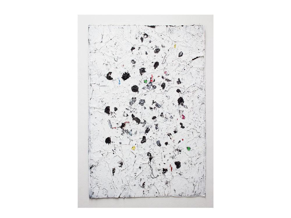 Brett McMahon   Taman Bahagia 3 , 2017 gesso, acrylic and enamel on paper 150 x 102cm   ARTIST BIO