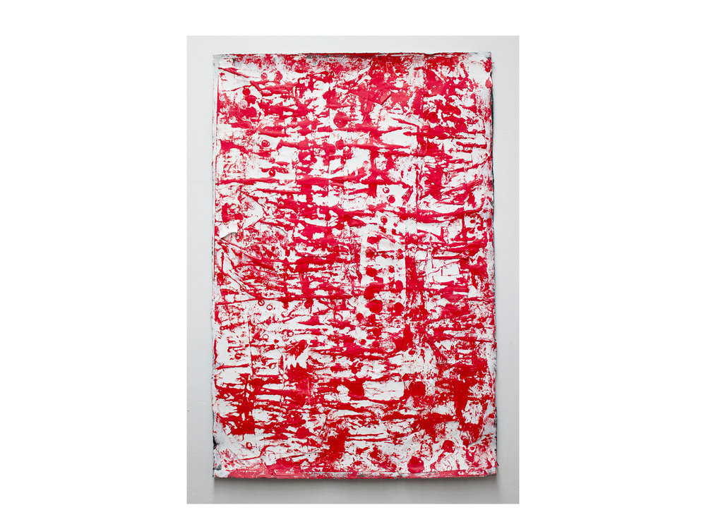 Brett McMahon   Taman Bahagia 5 , 2017 gesso, acrylic and enamel on paper 150 x 102cm   ARTIST BIO