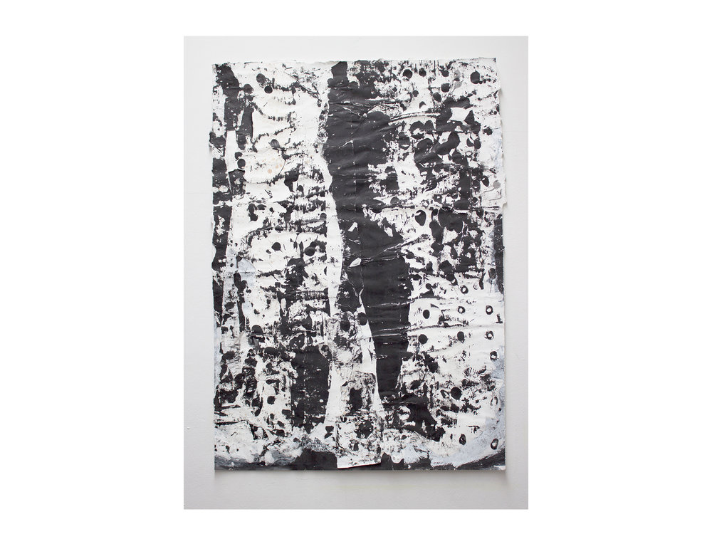 Brett McMahon   Taman Bahagia 11 , 2017 gesso, acrylic and enamel on paper 150 x 102cm   ARTIST BIO