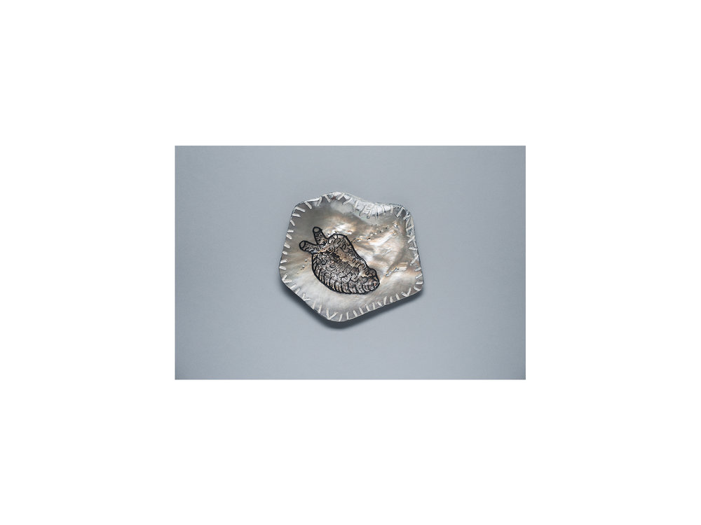 Stephen Eastaugh   Farnear (Heart) , 2016 etched pearl shell, acrylic and cotton thread 10 x 12cm   ARTIST BIO