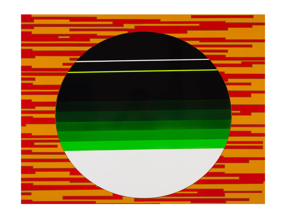 Merric Brettle   Rising Screen , 2017 automotive paint on mdf 95 x 115 cm   ARTIST BIO