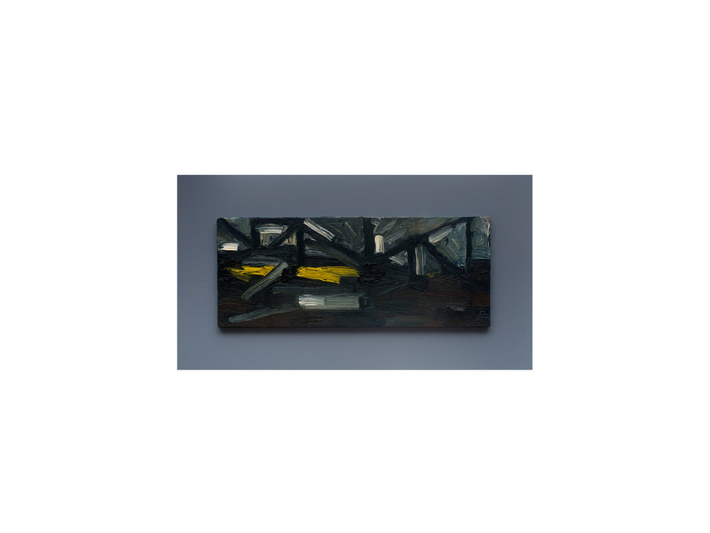James Clayden   Under the Bridge Near End of Day , 2015                                             oil on board 12 x 30 cm   ARTIST BIO