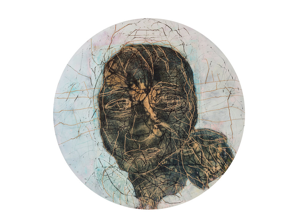 Robert Doble   Portrait of Francis Bacon - The Alienist , 2018 oil on archival marine ply diameter: 110cm   ARTIST BIO