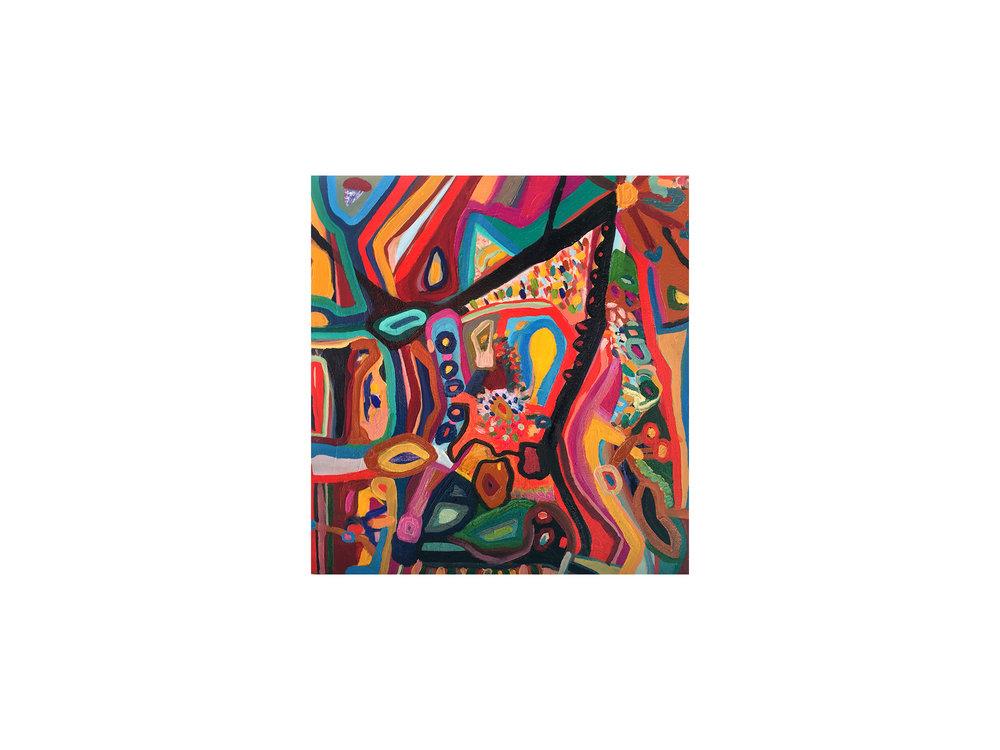 Mary Barton   Popping,  2018 oil on canvas 51 x 51cm   ARTIST BIO