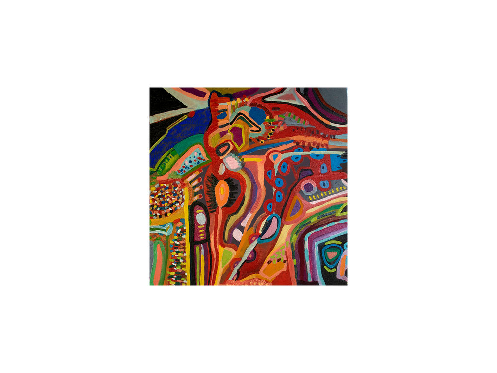 Mary Barton   Backyard Study Gone Mad,  2018 oil on canvas 41 x 41cm   ARTIST BIO