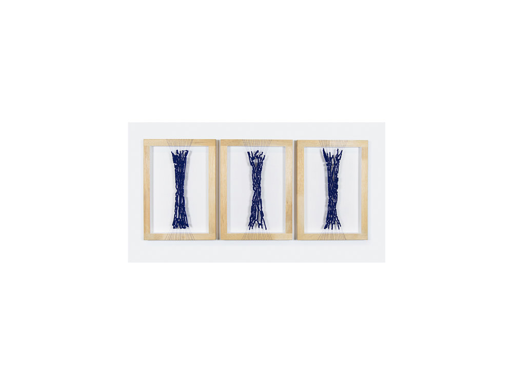 Dana Harris   unfinished seams l, II & III , 2017 cotton, acrylic, wooden frame each: 29.7 x 21cm