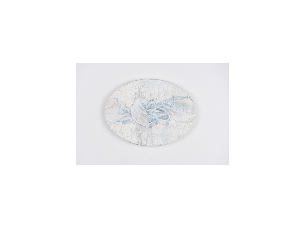 Sarah Tomasetti   Cloud Knot I , 2018 oil and encaustic on fresco plaster 13.5 x 18cm