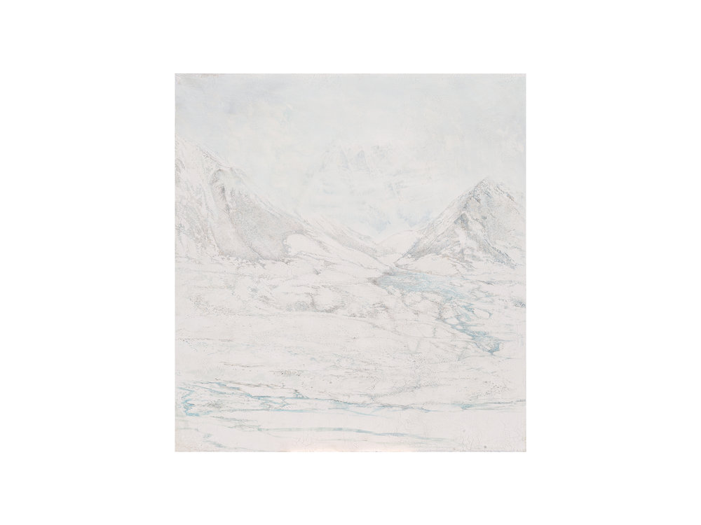 Sarah Tomasetti   Through the Pass , 2018 oil on fresco plaster, on muslin 142 x 132cm