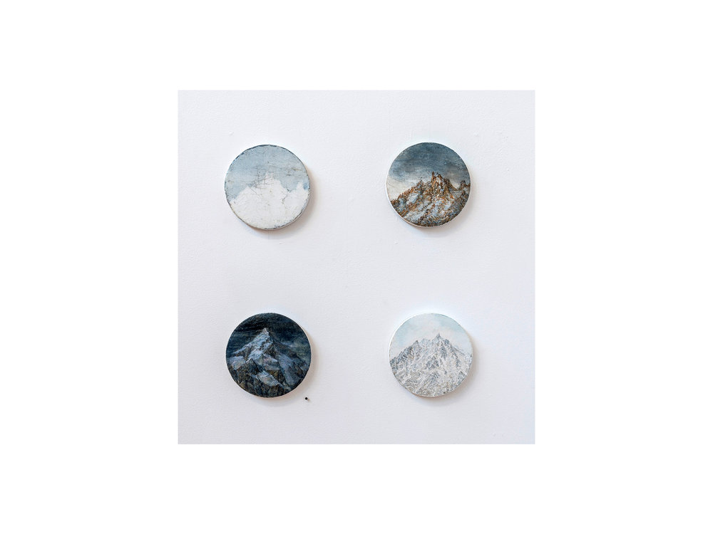 Sarah Tomasetti  (clockwise from top right)   Dolma La Study Vl , 2018 oil and encaustic on fresco plaster diameter: 13.5cm   From Dirapak Study 1 , 2017-18 oil on fresco plaster diameter: 13.5cm   Unknown Peak XV , 2017-18 oil an encaustic on fresco plaster diameter: 13.5cm   Companion Panel  oil and encaustic on fresco plaster diameter: 14cm