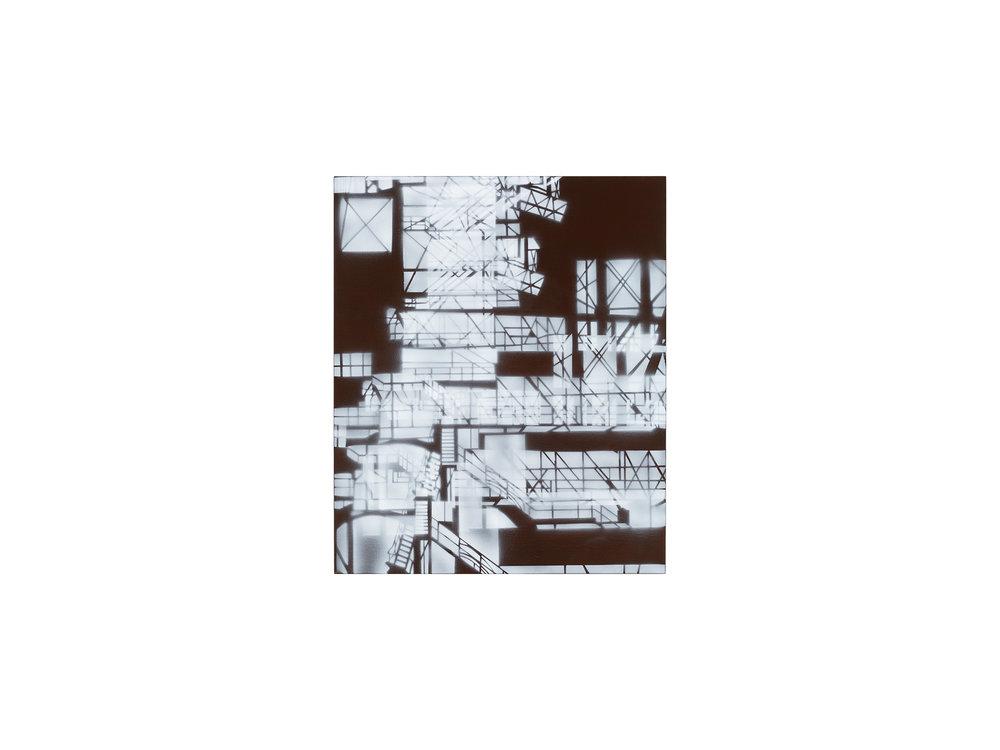 Louise Forthun   Airy Stairs ,   2018 acrylic on linen 90 x 75cm   ARTIST BIO