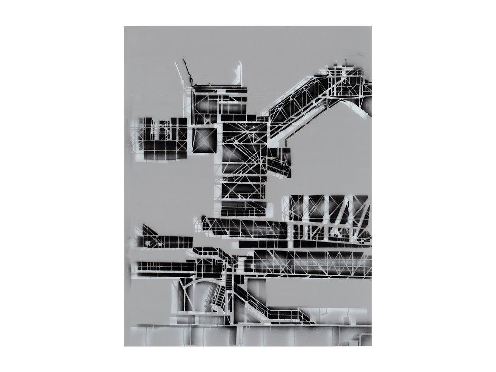 Louise Forthun   Wire Assemblage ,   2018 acrylic on linen 150 x 116cm   ARTIST BIO