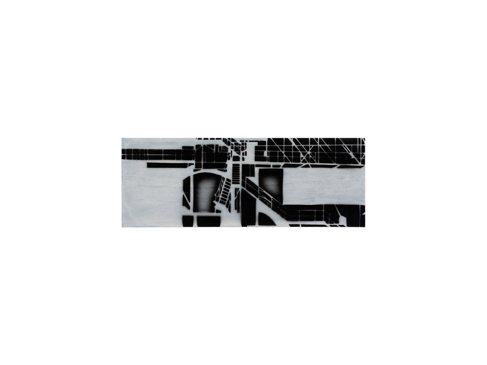 Louise Forthun   Gangway,  2018 acrylic on linen 33 x 90cm   ARTIST BIO