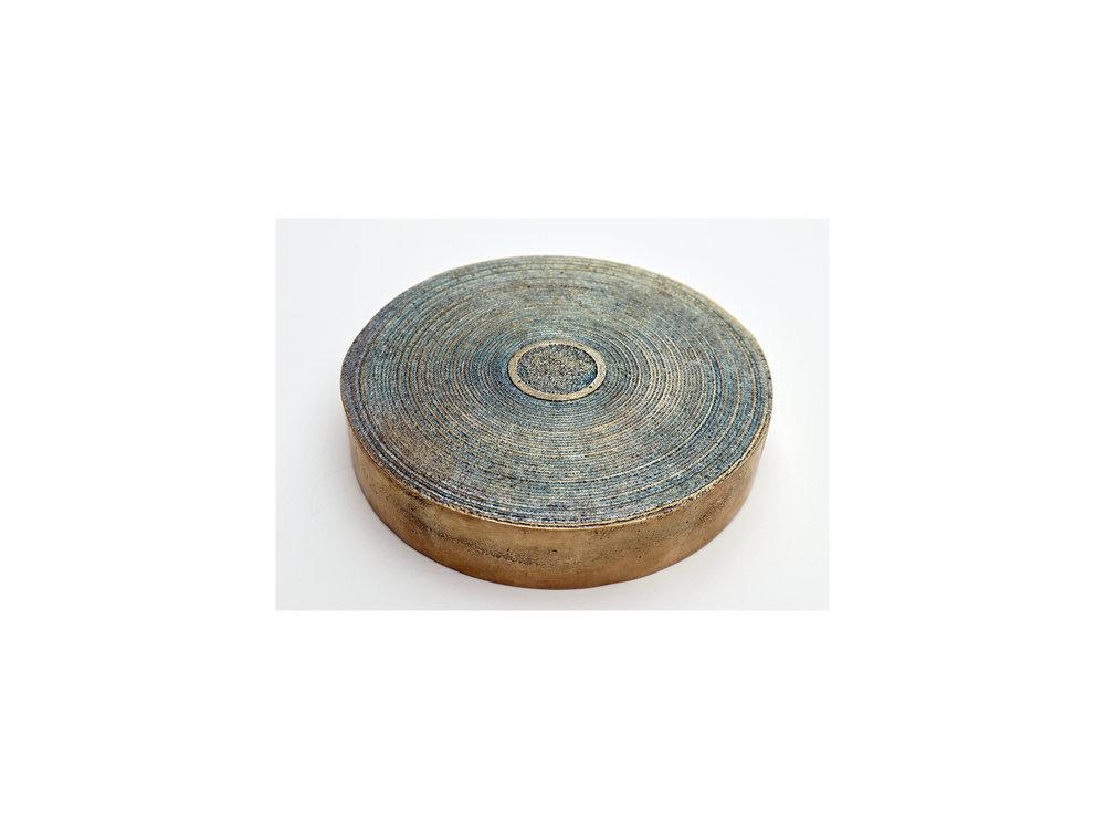 Jo Wilson   Biadesivo , 2018  cast bronze and wax  14cm diameter x 4cm  edition of 2