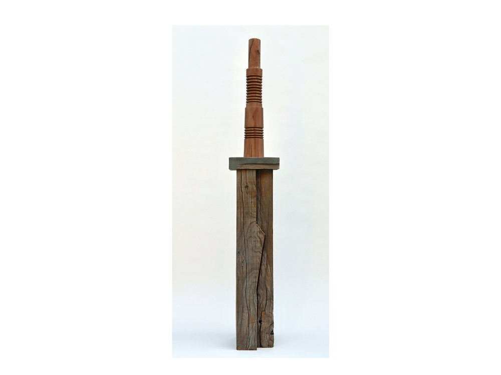 Jo Wilson     Platen/RJW#4,  2018 reclaimed cypress, tallowwood, pigment, wood-wash and clear coat 155 x 24 x 24cm