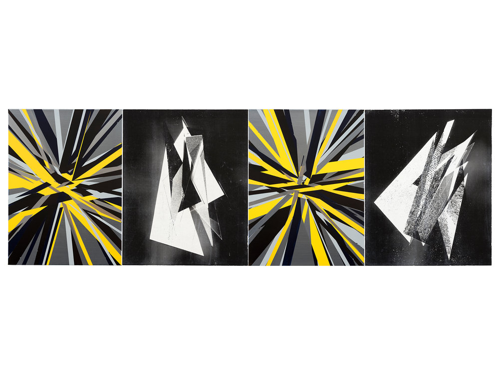 Justin Andrews   Neutron Rhythm Spectre , 2018 acrylic on canvas and unique transfer on braced canvas panel 76 x 224cm (4 parts)   ARTIST BIO