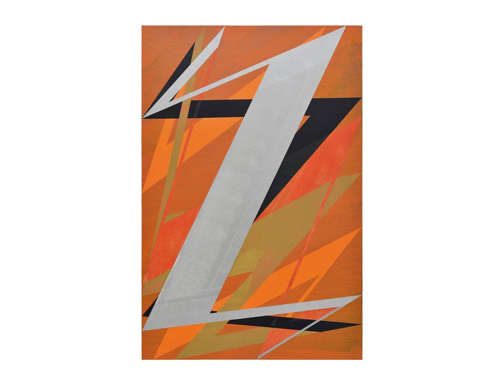 Justin Andrews   Space Force Painting B , 2018  acrylic on braced panel 90 x 60cm   ARTIST BIO