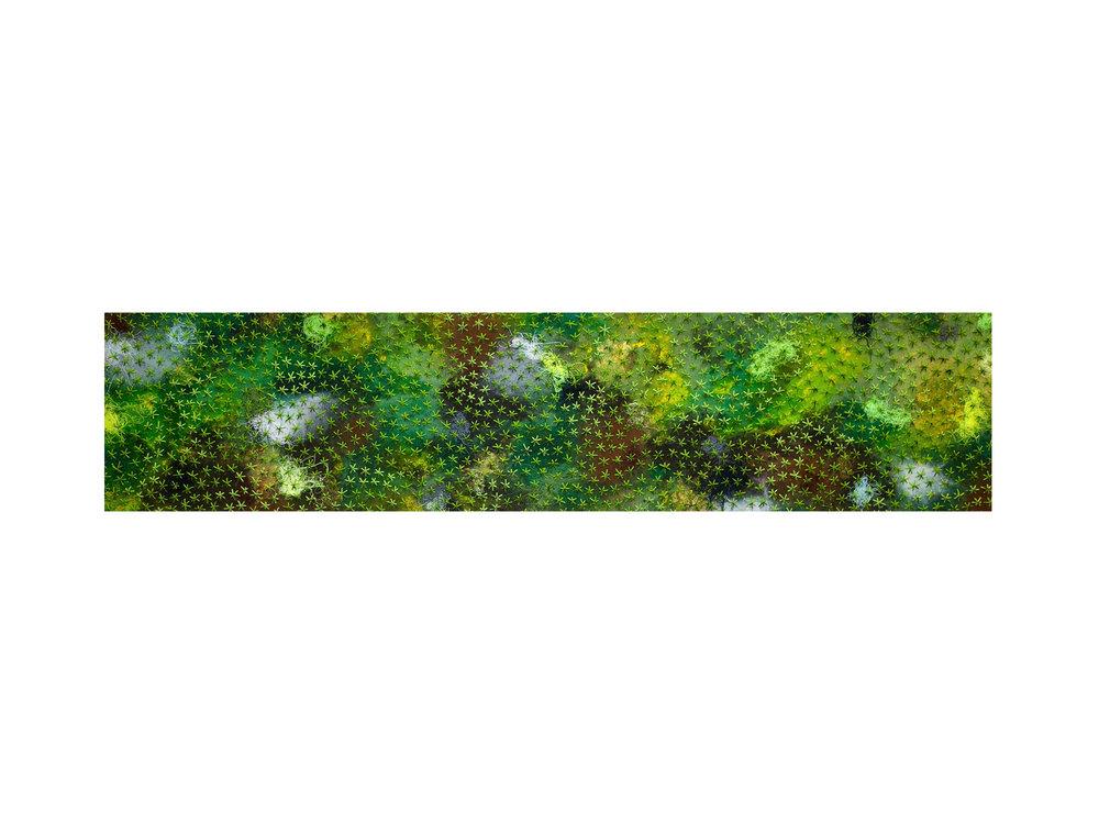 Stephen Eastaugh   Dirty Moss Stars , 2018 acrylic, cotton, wool on belgian linen 32 x 120 cm   ARTIST BIO