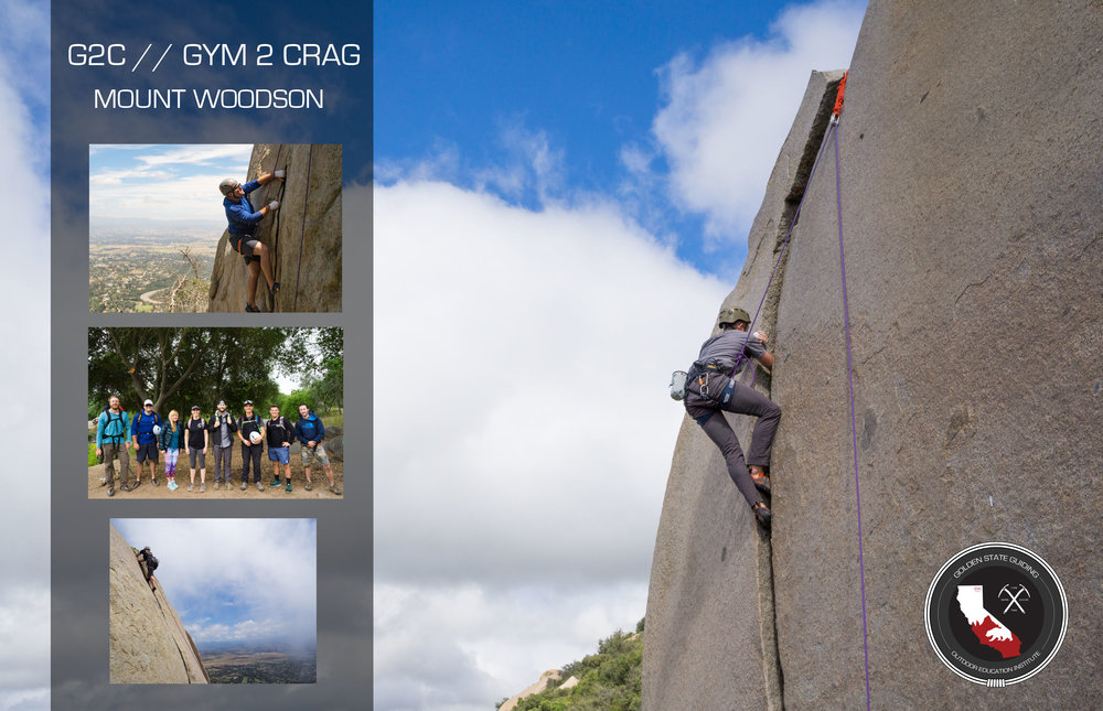 Mount Woodson outdoor climbing day with the G2C Gym to Crag first round