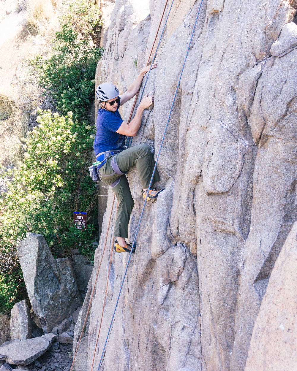 Rock climbing in mission gorge, san diego county.
