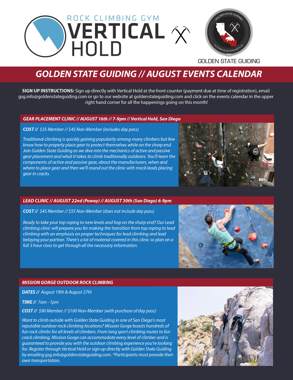 Rock Climbing events San Diego, Southern California
