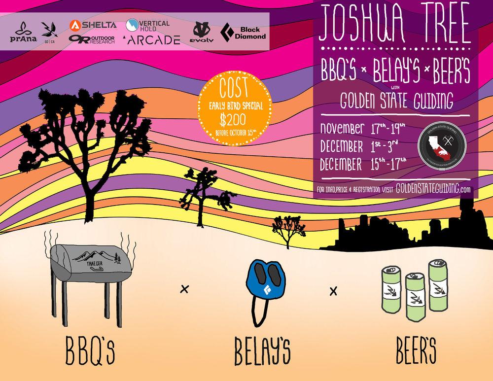 Joshua Tree Rock Climbing Event BBQ's x BELAYS x BEERS