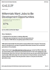 Millennials Want Jobs To Be Development Opportunities (Gallup)
