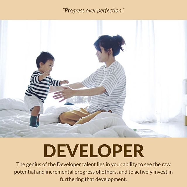 "Those with the #Developer talent theme have an incredible ability to be patient with small beginnings, celebrate the little victories along the way, and bring a sense of nurturing and safety to those around them. I'm fortunate to have a few Developers in my life who perfectly balance out my high #Responsibility and #Achiever — in my drive to fulfill the goals I've set for myself, I sometimes fail to recognize each small step forward. I also tend to be pretty hard on myself when I'm still ""a work in progress."" In contrast, Developers tend to care more about the process than the end-result: for them, the treasure is in the journey, not the destination. . . Here's an excerpt about the Developer theme: ""When Developer is at its best they are accepting of others. It's the idea that Developers themselves are hopeful and the effect that has on other people is that it can create teams full of hope. It's the natural ability to say tomorrow is going to be better than today, which can be a powerful motivating factor. Individuals with high Developer bring patience to the team, especially when they're dealing with inexperience: they're not stuck on where we've been or where we're at today, rather where we are going. Developers are thoughtful and smart about how to configure winning contributors and effective teams. Developer is about the belief that every person we encounter is on the pathway to getting better."" . . #strengthscoaching #gallup #cliftonstrengths #strengthsfinder #strengthsfindercoach"
