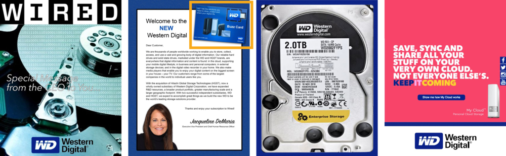 The device shown above (highlighted in yellow) is attached to the inside front cover of any magazine cover wrap campaign. It's a removable USB device for any user-guided experience.