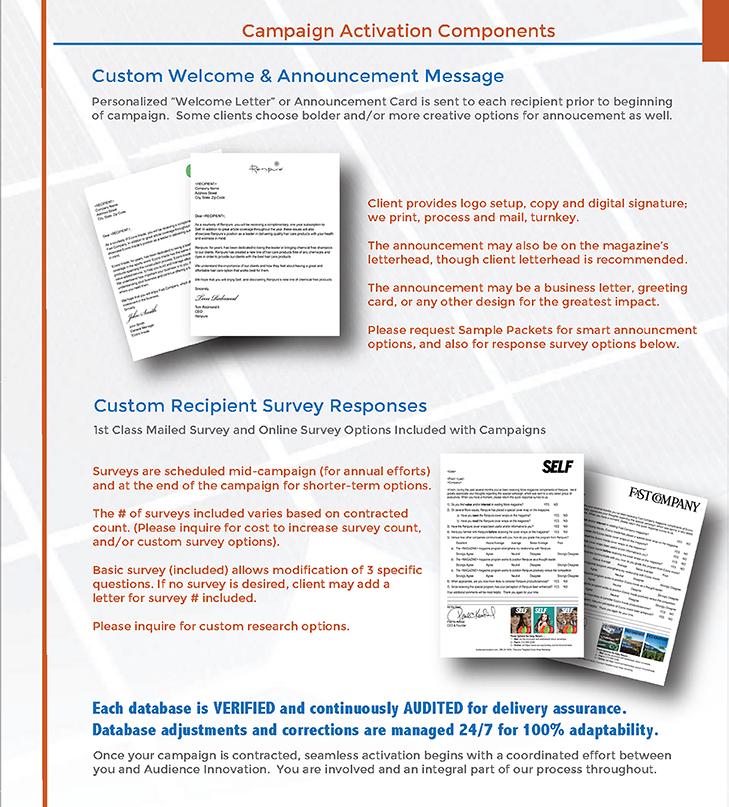 Details regarding announcements & surveys.