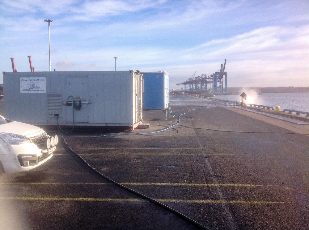 Vattenbilning för Concreo, Göteborgs hamn
