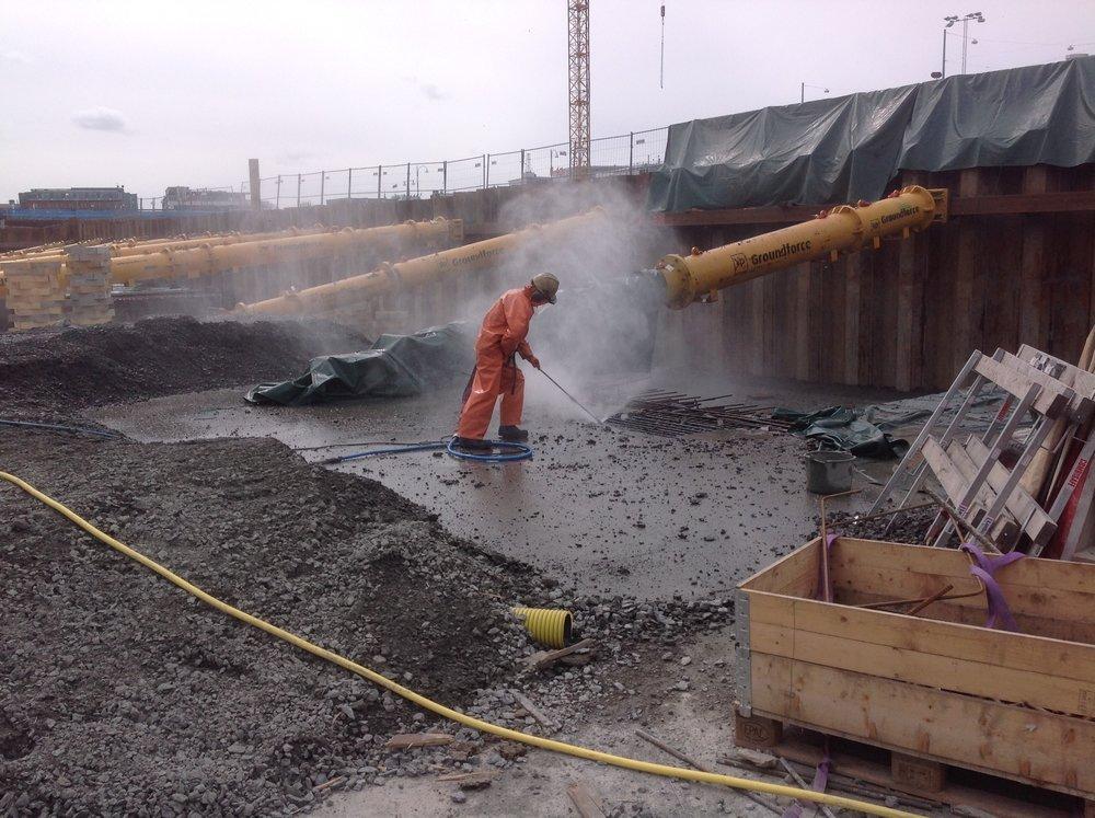Platinan Göteborg: Vattenbilning av 25m2 betongplatta för PEAB 2018