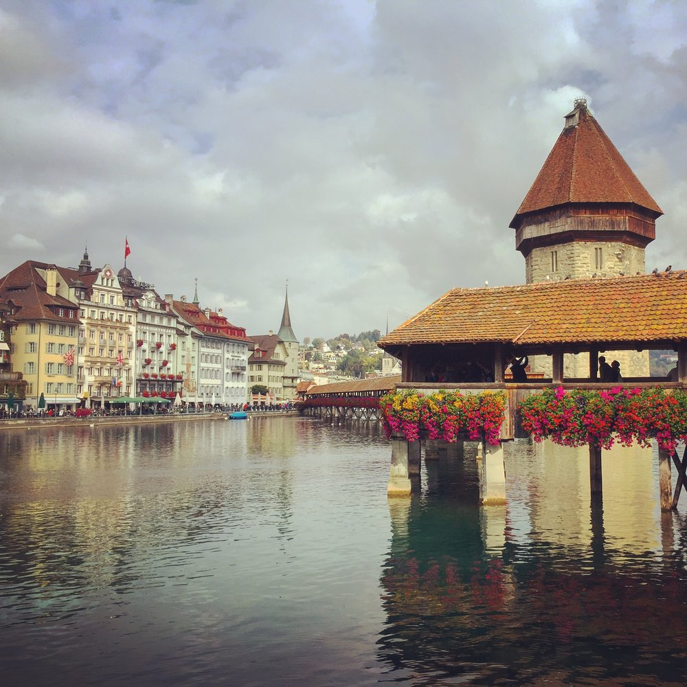Originally built in 1333, the  Kappelbrücke (Chapel Bridge)  is one of Luzern's most iconic sights. The medieval wooden bridge is one of 5 that cross the Reuss River joining the old town and the new town. It is decorated with a number of paintings dating back to the 17th century.