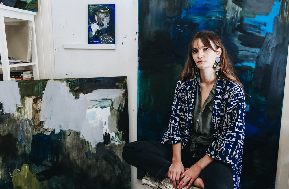 Artist Bridie Gillman in her Kangaroo Point home studio.