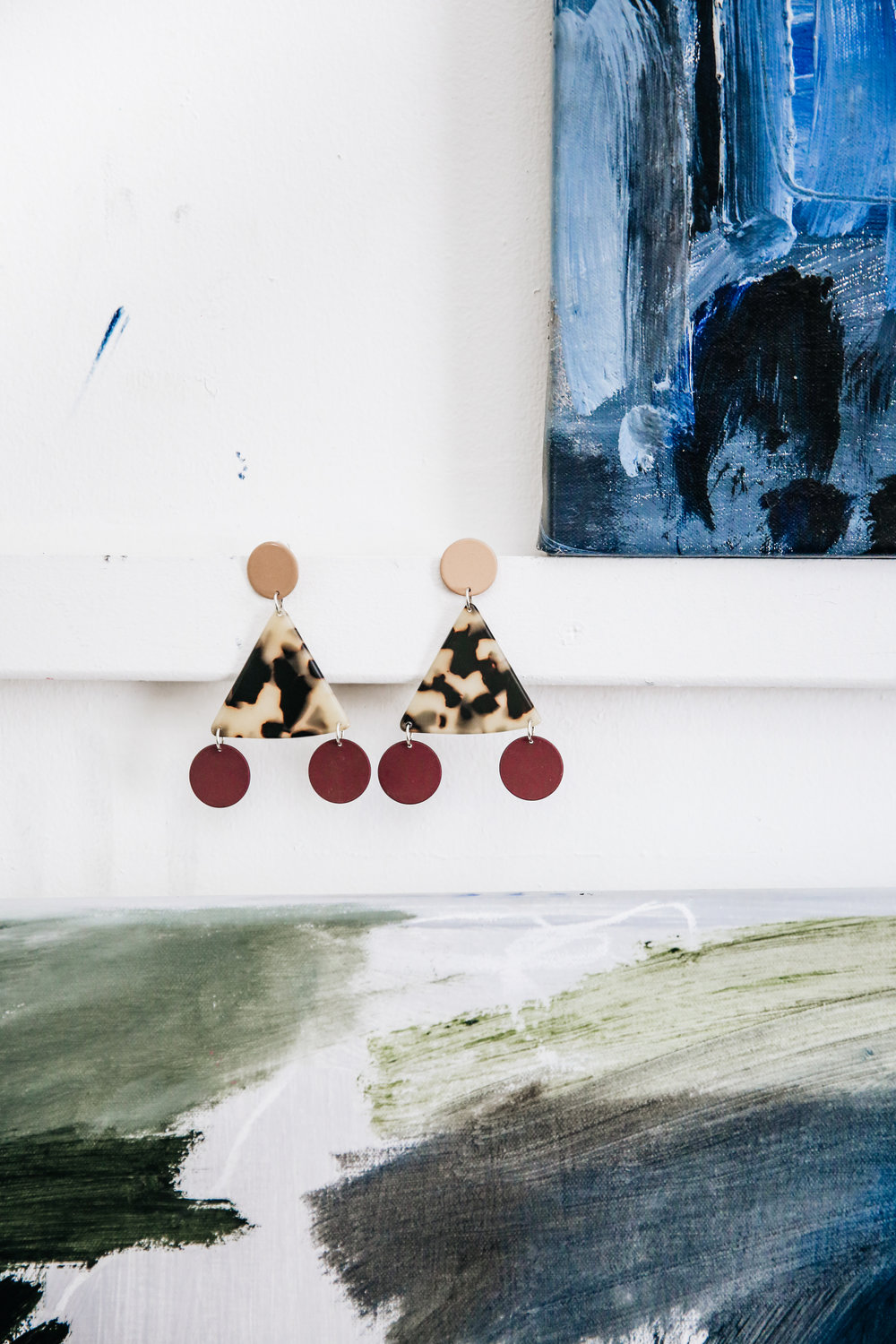 The Terzetto earrings hanging out in Bridie's Studio