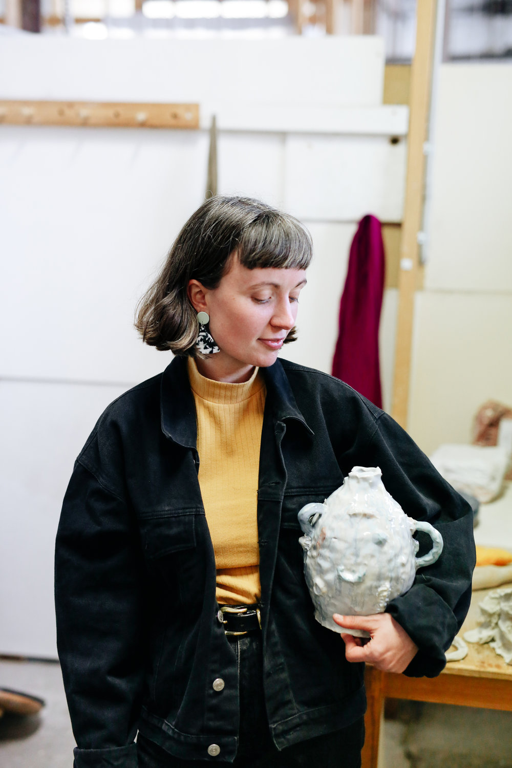 Tessy with one of her glazed vessels