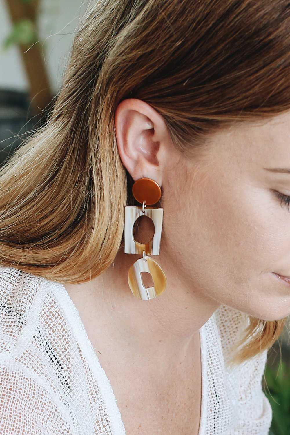 Mim Wears the Collector Earrings in Tangelo Chrome